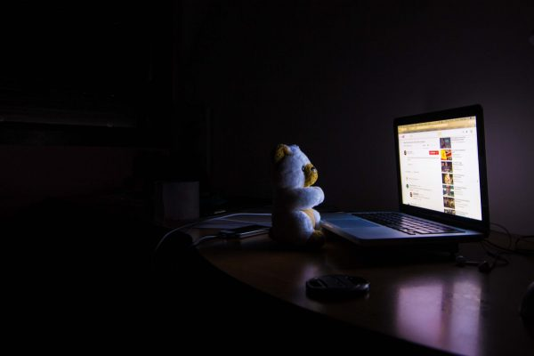 laptop in the dark